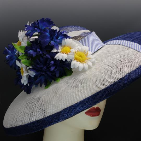 Blue and White Sinamay Hat