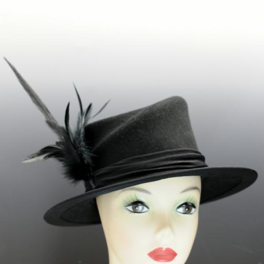 Black WoolFelt Hand-Blocked Hat